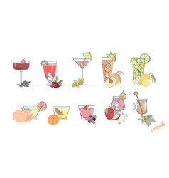 set of popular alcohol cocktail vector image