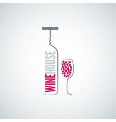wine bottle glass menu background vector image vector image