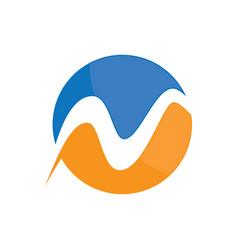 circle wave business logo vector image vector image