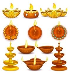 Collection of diwali decorated diya vector