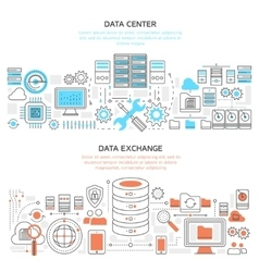Datacenter horizontal linear banners vector