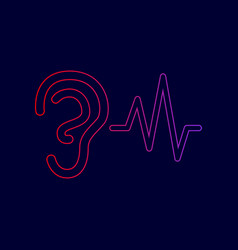 ear hearing sound sign line icon with vector image