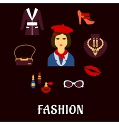 Fashion icons with accessories and jewelries vector image