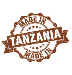 made in tanzania round seal vector image
