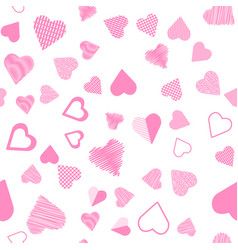 romantic pink heart seamless pattern vector image vector image