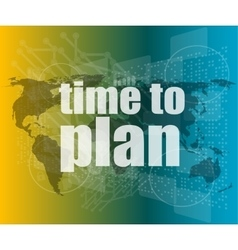 touch screen with time to plan vector image