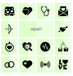 14 heart icons vector