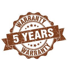 5 years warranty stamp sign seal vector