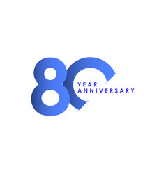 80 years anniversary celebration blue gradient vector