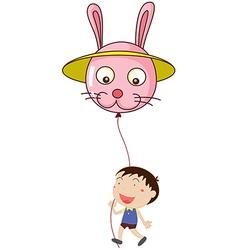 A kid with a bunny balloon vector image vector image
