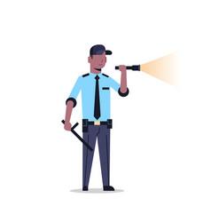 African american security guard man in uniform vector