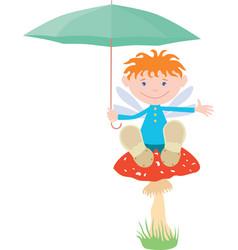 an elf boy with an umbrella sits on a mushroom vector image