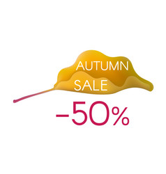 autumn sale on yellow cartoon leaf vector image