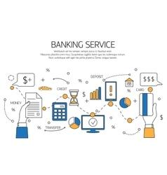 Banking service outline concept deposit credit vector image