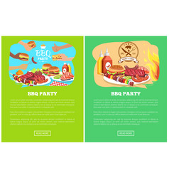 bbq party two colorful posters vector image