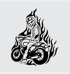 biker skull logo design vector image