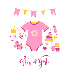 Birth of a girl hand drawn doodle vector