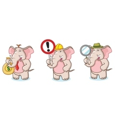 Brown Elephant Mascot with money vector image
