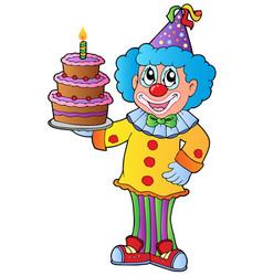 Cartoon clown with cake vector