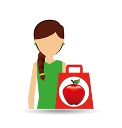 cartoon girl shopping apple fruit icon vector image