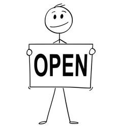 Cartoon man or businessman holding sign vector