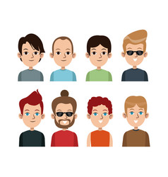 cartoon portrait young men group differents vector image