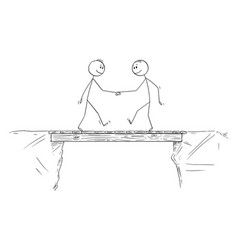 Cartoon two men or businessmen shaking hands vector