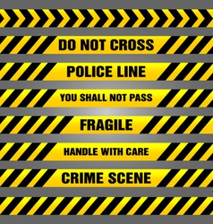 Caution yellow tapes bundle vector image