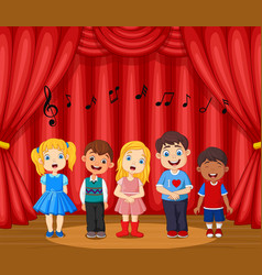 children performing singing on stage vector image