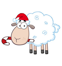 christmas sheep cartoon character vector image