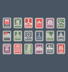 collection stamps from different countries vector image