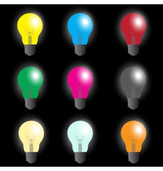 color light bulbs - light source eps10 vector image