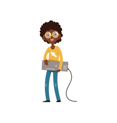 computer geek character with keyboard in hands vector image
