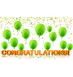 Congratulations background with balloons and vector