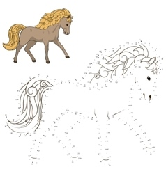 Connect dots to draw wild horse educational game vector