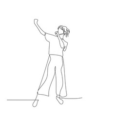 Continuous one line dancing woman with ponytail vector