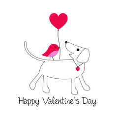 cute dog and bird valentine with baloon vector image