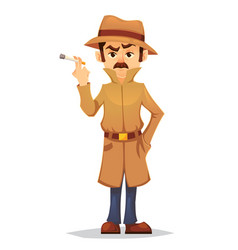 detective character design cartoon flat style vector image