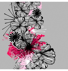 Doodle seamless flower ink pattern vector
