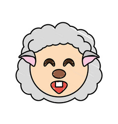 Drawing sheep face animal vector
