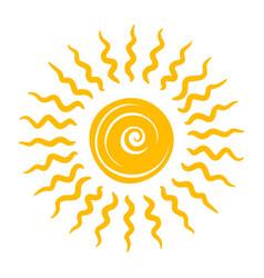 drawn yellow sun cute bright shiny icon vector image