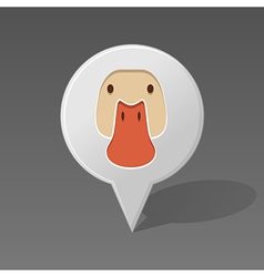 Duck pin map icon Animal head vector image