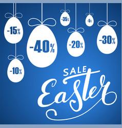 easter sale banner hanging eggs cartoon vector image