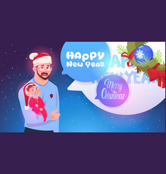 father and son wearing santa hats merry christmas vector image