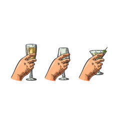 female hand holding a glass of cocktail wine vector image