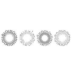 festive fireworks line set star sparkle sunburst vector image