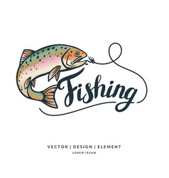 fishing modern hand drawn lettering phrase vector image