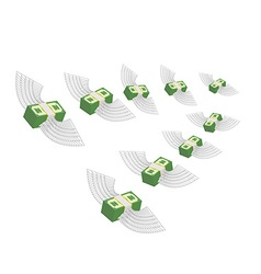 Flying winged money Profit decreases Loss of cash vector image
