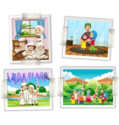 Four photo frames of muslim family vector