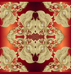 gold baroque 3d seamless pattern striped zigzag vector image